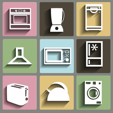 food processor: Kitchen and house appliances flat icons set