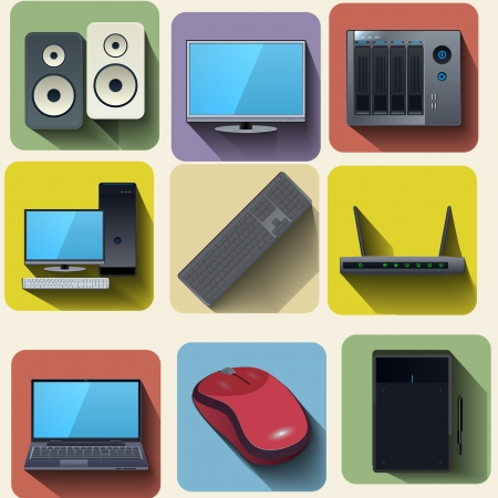 nas: Home computer equipment set icons vector illustration
