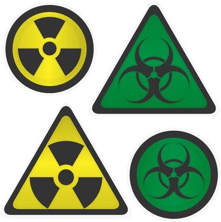 Signs Radiation and biological hazard vector illustration