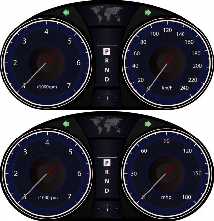 control panel: Illustrazione grafica del pannello di controllo della vettura Vettoriali