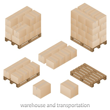 Boxes and pallets set of vector illustration