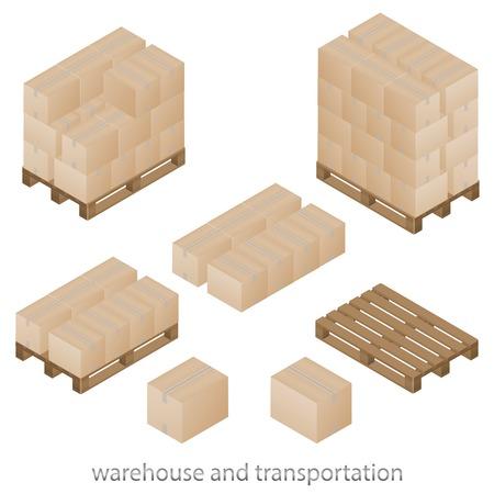 Dozen en pallets set van vector illustratie Stock Illustratie