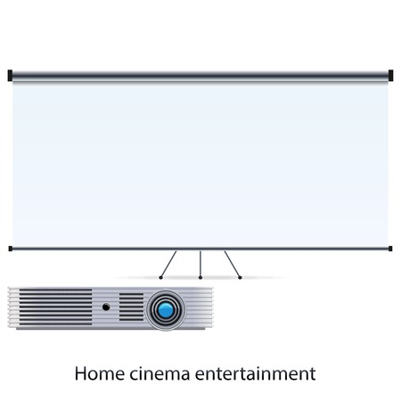 cinema screen: Vector cinema projector and blank white screen Illustration