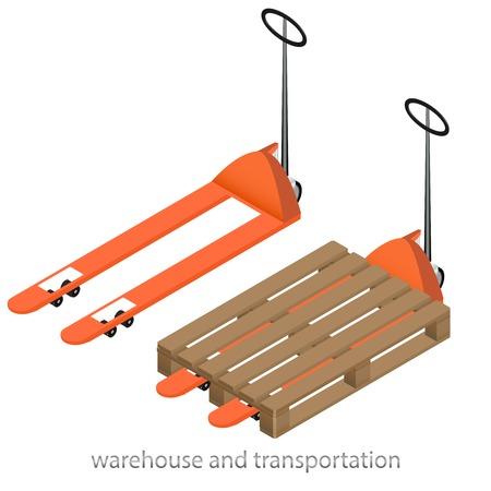 Illustrazione vettoriale arancione transpallet con il pallet