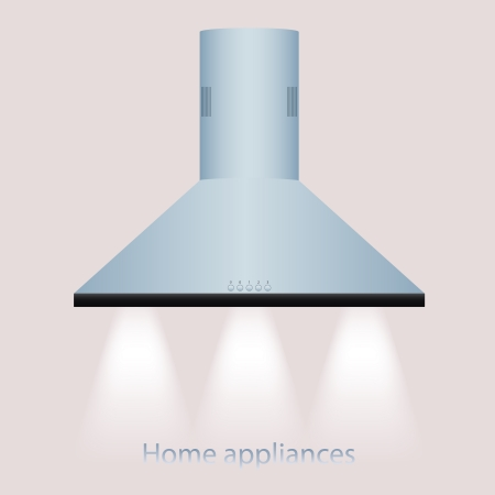tehnology: modern metallic cooker hood vector graphic illustration