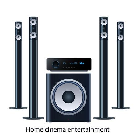 speaker system: Vector casa sistema de altavoces de cine detalized establecer