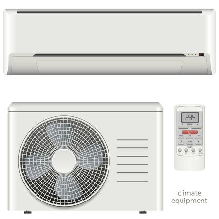 Vector illustratie airconditioner systeem in te stellen op een witte achtergrond