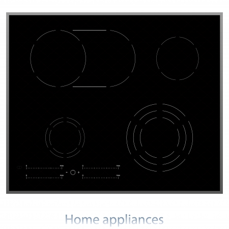 cooktop: The modern electric cooking surface vector illustration