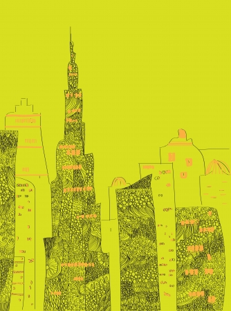 UAE skyline vector abstract graphic illustration silhouettes