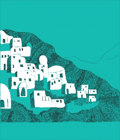aegean: Santorini island, Greece illustration