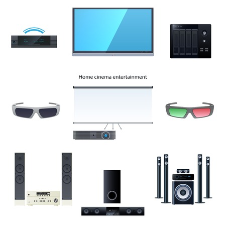 Home cinema entertainment vector graphic illustration set Vector
