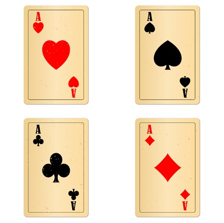 Blank old plaing cards four aces with light shadows