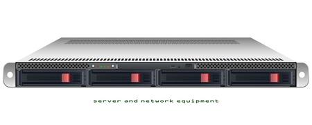 Server rackmount 1U chassis vector grafische illustratie Stock Illustratie