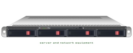Server rackmount 1u chassis vector graphic illustration