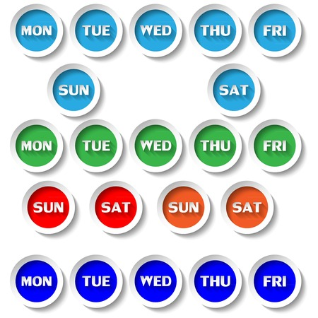 weekday: vector illustration days buttons in circles forms