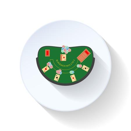 blackjack: Blackjack table flat icon vector graphic design Stock Photo