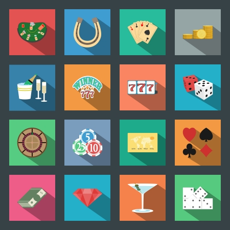 Casino flat icons set vector graphic design elements photo