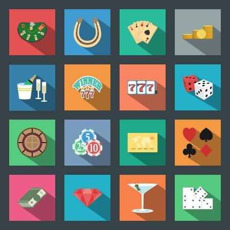 Casino flat icons set vector graphic design elements Stock Photo - 24194010
