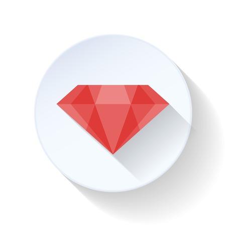 simbol: Rubino icona piatta illustrazione vettoriale design grafico Vettoriali