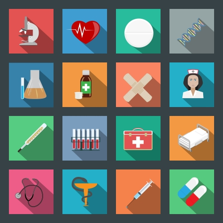 Medicine flat icons set vector graphic illustration Stock Vector - 24194034