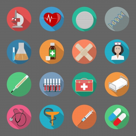 Medicine flat icons set vector graphic illustration Vector