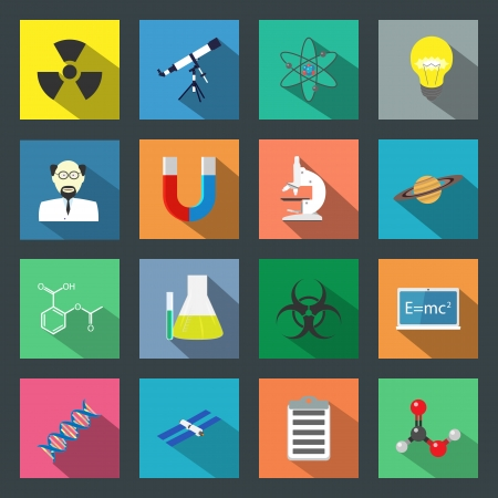 Science flat icons set vector graphic illustration