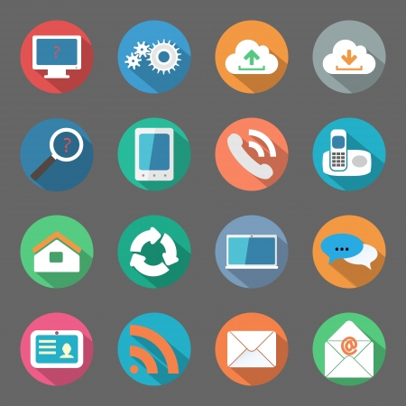 Communication icons set flat design vector graphic illustration Vector
