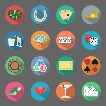 Casino flat icons set veector graphic design elements Vector