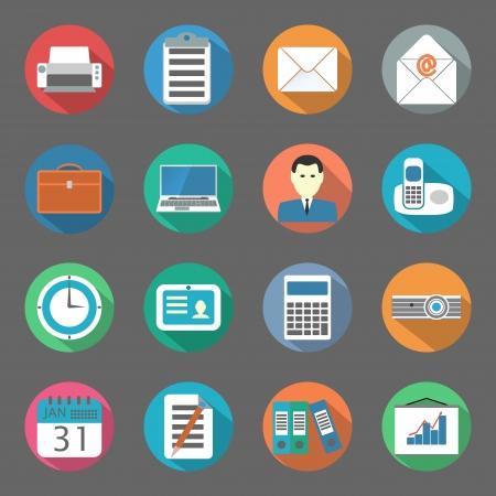 Office vlakke pictogrammen vector grafische illustratie set Stock Illustratie