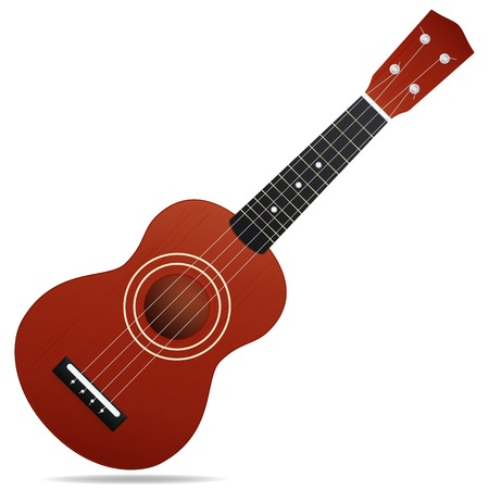 The brown acoustic guitar isolated on white background Illustration