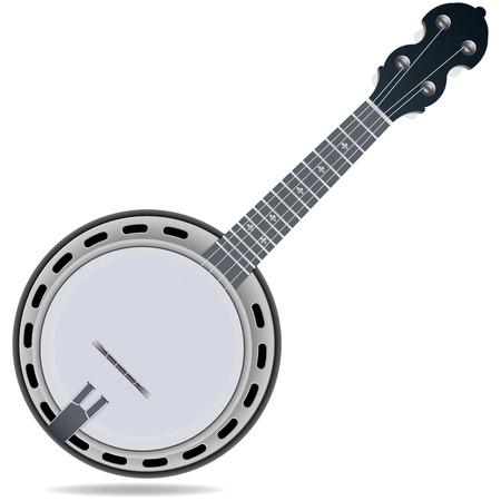 geigen: Grau Geige insrtument Banjo isoliert auf wei�em Hintergrund Illustration