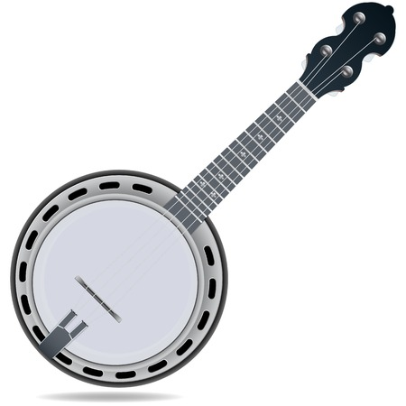 Grey fiddle insrtument banjo isolated on white background