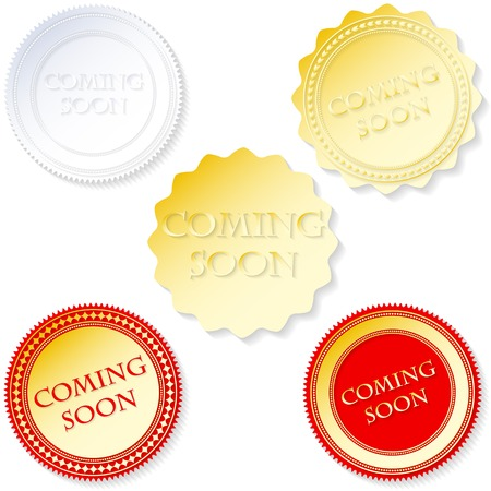 Vector coming soon labels set red colors Vector
