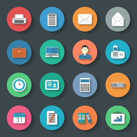 Office flat icons vector graphic illustration set Vector