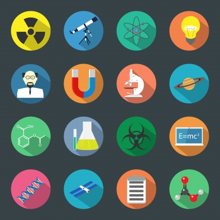 Science flat icons set vector graphic illustration Stock Vector - 24504410