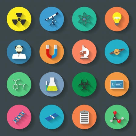 Science flat icons set vector graphic illustration Stock Vector - 24504411