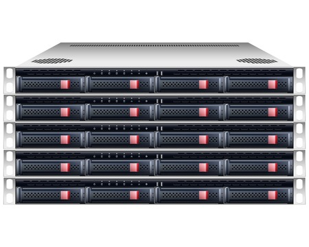 Server rackmount chassis vector geïsoleerd grafisch illustratie Stock Illustratie
