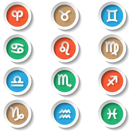 Zodiac color icons flat design vector illustration