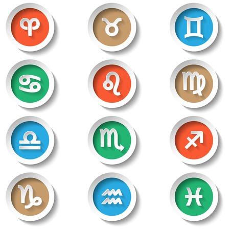 Zodiac kleur iconen platte ontwerp vector illustratie