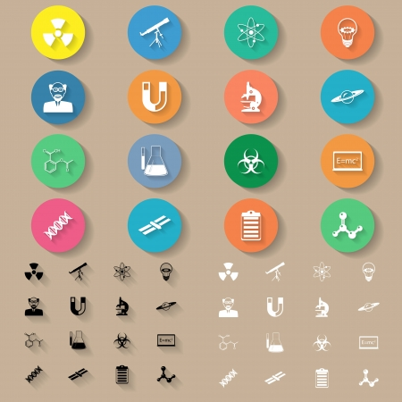 Science flat icons set vector graphic illustration Stock Vector - 25331353