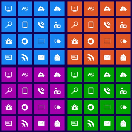Communication icons set flat design graphic illustration Vector