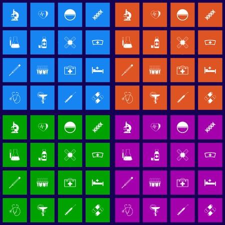Medicine flat icons set graphic illustration Stock Vector - 25633726