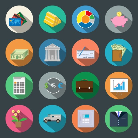 Finance flat icons set vector graphic illustration Vector