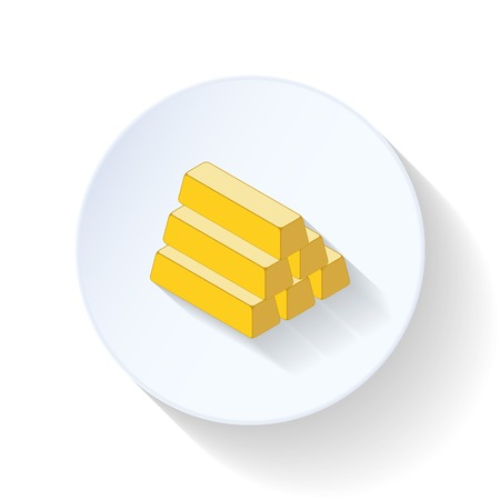 Gold bullion flat icons set graphic illustration Stock Vector - 26041514