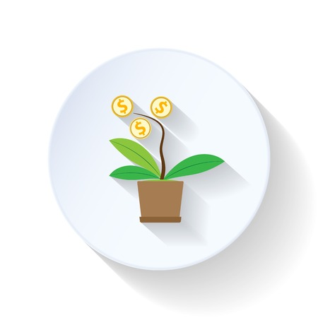 Growing Money Tree flat icons set graphic illustration Stock Vector - 26041516