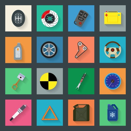 auto service: Auto service flat icons set vector graphic illustration