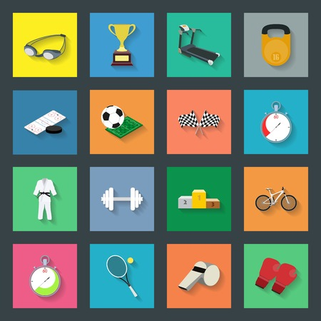 hockey sobre cesped: Iconos planos deporte Conjunto gr�fico ilustraci�n