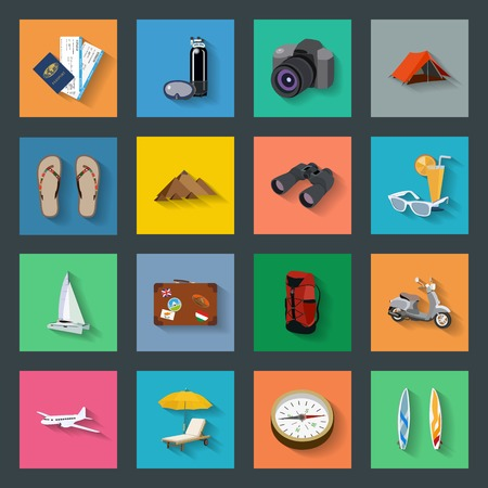 Tourism flat icons set vector graphic illustration Vector
