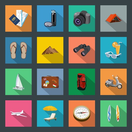Tourism flat icons set Vector