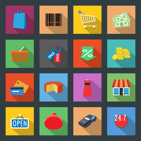 Market flat icons set graphic illustration Vector